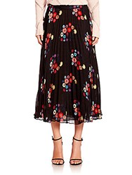 Tanya Taylor Pleated Floral Skirt Black Multicolor