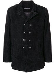 John Varvatos Double Breasted Coat Goat Suede Black