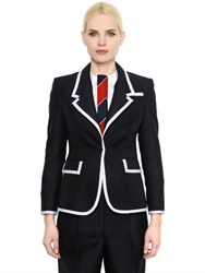 Thom Browne Wide Lapel Wool And Mohair Jacket