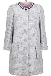Thom Browne Sequin Embellished Cotton Blend Tweed Coat Sky Blue