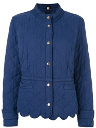 Burberry Scallop Trim Quilted Jacket Women Cotton Polyester M Blue