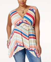 American Rag Plus Size Striped Handkerchief Hem Top Only At Macy's Barbados Cherry