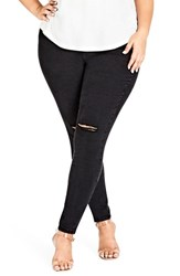 City Chic Plus Size Women's Ripped Knee Skinny Jeans Black