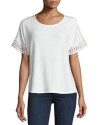 Cirana Mixed Lace Trim Tee White
