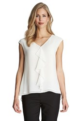 Women's Cece By Cynthia Steffe Ruffle Front V Neck Blouse Light Cream
