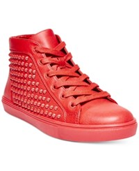 Steve Madden Women's Levels Studded High Top Sneakers Women's Shoes Red