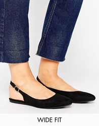 New Look Wide Fit Suedette Pointed Slingback Shoe Black
