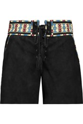 Talitha Embroidered Suede Shorts Black