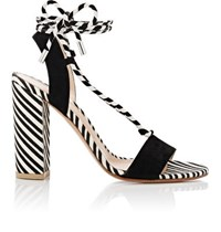 Gianvito Rossi Women's Antibes Canvas And Suede Sandals Black White Black White
