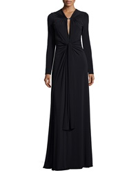 Halston Long Sleeve Keyhole Neck Jersey Gown