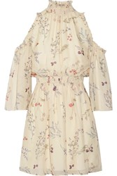 Rachel Zoe Meade Cold Shoulder Floral Print Silk Chiffon Mini Dress Ivory