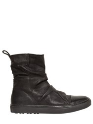 John Varvatos Wrinkled Oiled Leather High Top Sneakers