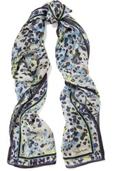 Roberto Cavalli Printed Silk Scarf Midnight Blue