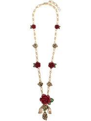 Dolce And Gabbana Floral Charm Necklace Gold