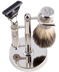 Bey Berk Men's Monogrammed Razor And Brush Set