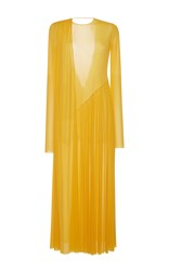 Emilio Pucci Asymmetrical Pleated Maxi Dress Yellow