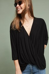 Anthropologie Draped Wrap Top Black