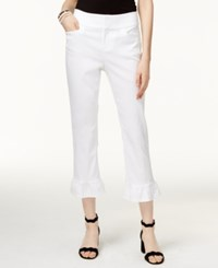 Inc International Concepts Petite Ruffle Hem Cropped Pants Only At Macy's Bright White