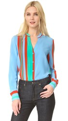 Diane Von Furstenberg Long Sleeve V Neck Shirt Borel Stripe Jade Dare Red