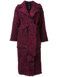 Lalo Belted Tweed Coat Red