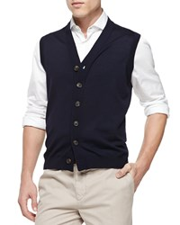 Brunello Cucinelli Button Front Cardigan Vest Navy