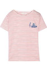 Chinti And Parker Printed Striped Cotton Jersey T Shirt