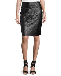 Zero Degrees Celsius Laser Cut Faux Leather Pencil Skirt Black