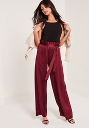 Missguided Paper Bag Waist Wide Leg Trousers Burgundy Grey