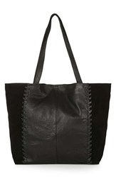 Topshop 'Woody' Whipstitch Detail Leather Shopper Bag Black