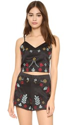 J.O.A. Embroidered Crop Top Black