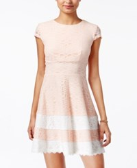 Teeze Me Juniors' Lace Fit And Flare Dress Blush Off White