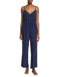 Frame Denim Le Wide Leg Silk Jumpsuit Navy Dot