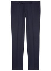 Oscar Jacobson Dave Navy Slim Leg Wool Trousers
