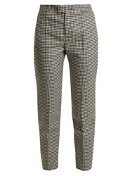 Red Valentino Slim Leg Hound's Tooth Wool Cropped Trousers Black White