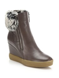 Aquatalia By Marvin K Caroline Leather And Faux Fur Wedge Booties Taupe Black