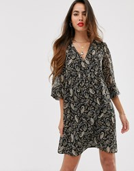 Mango Paisley V Neck Dress Multi