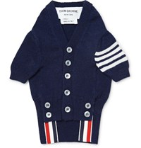 Thom Browne Hector Striped Cashmere Dog Cardigan Navy