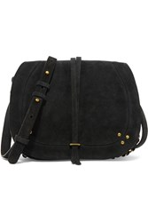 Jerome Dreyfuss Nestor Ring Embellished Suede Shoulder Bag Black