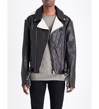 Maison Martin Margiela Contrast Panelled Leather Jacket Black Oppo Ivory