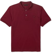 Prada Slim Fit Cotton Pique Polo Shirt Burgundy