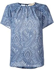 Tory Burch Paisley Print T Shirt Blue