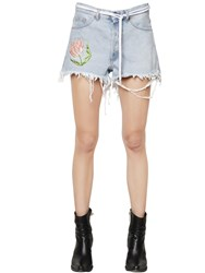 Off White Tulip Frayed Cotton Denim Shorts