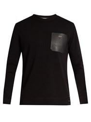 Fendi Leather Patch Wool Sweater Black