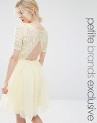John Zack Petite Lace Bodice Midi Prom Dress With Cut Out Detail Lemon Yellow