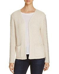 Three Dots Beaded Ribbed Cardigan Gardenia