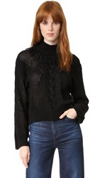 Tanya Taylor Cable Knit Ruth Sweater Black