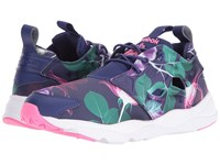 Reebok Furylite Slip On Jersey Floral Night Navy Phantom Blue White Poison Pink Women's Shoes