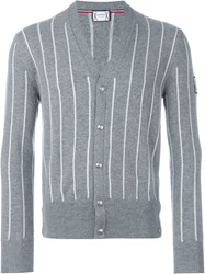 Moncler Gamme Bleu Striped Cardigan Grey