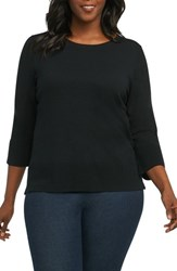Foxcroft Plus Size Women's Leda Ottoman Rib Sweater Black