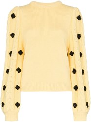 Shrimps Floral Embellished Knitted Sweater Yellow